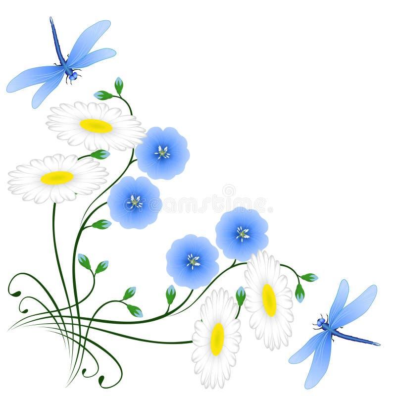 Coin avec des fleurs de lin, de camomiles et de libellules bleus illustration stock