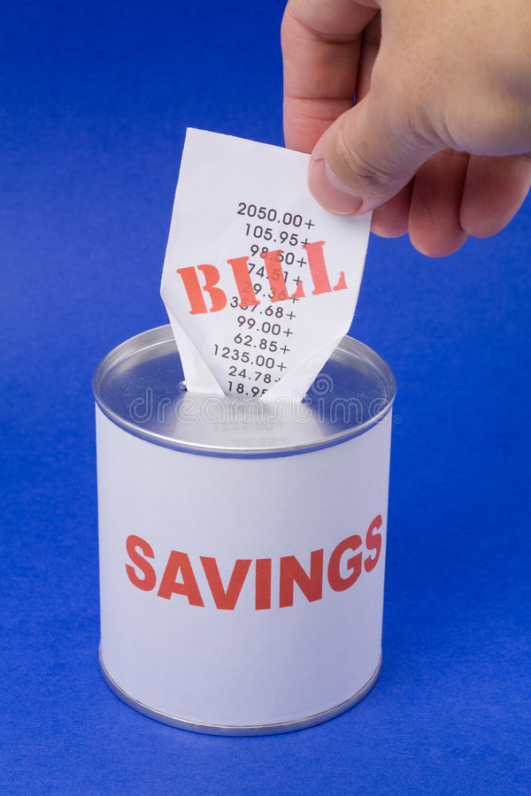 Coin Bank and bills stock photography