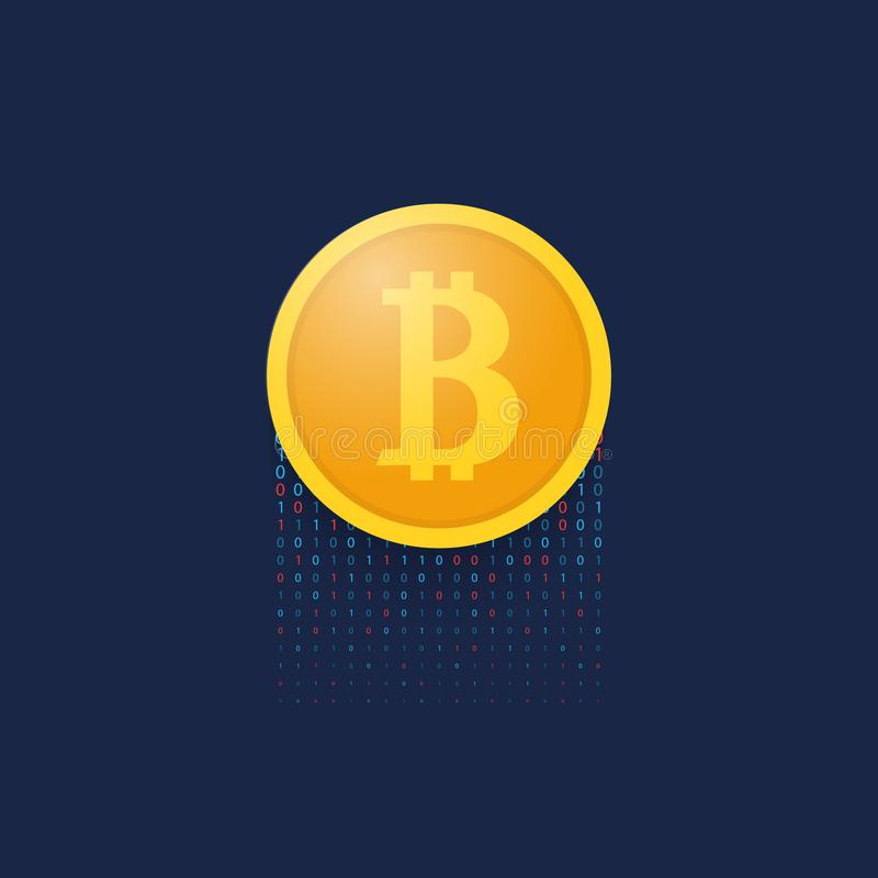 Coin bitcoin on a blue background. royalty free illustration