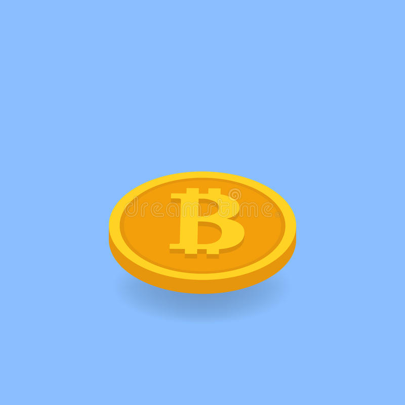 Coin bitcoin on a blue background. stock illustration