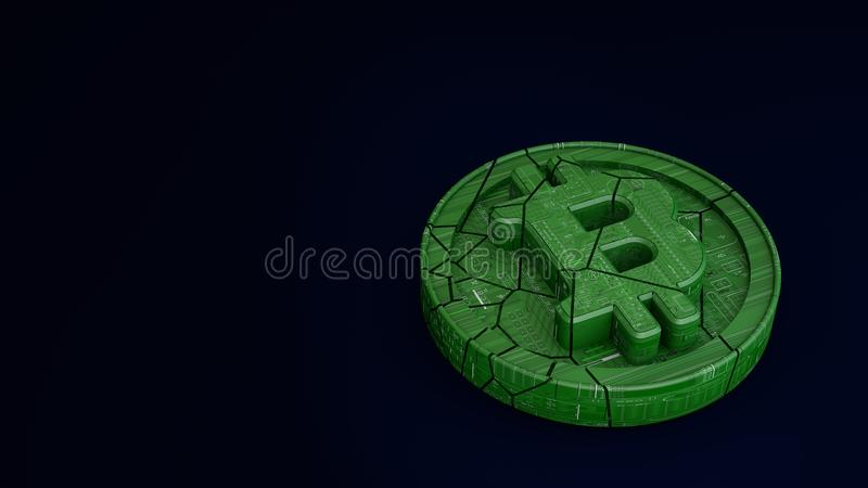 Coin bitcoin is broken in half. The fall and collapse of the course of the crypto currency. 3d render. Bitcoin consisting of microcircuits is broken in half. The stock illustration