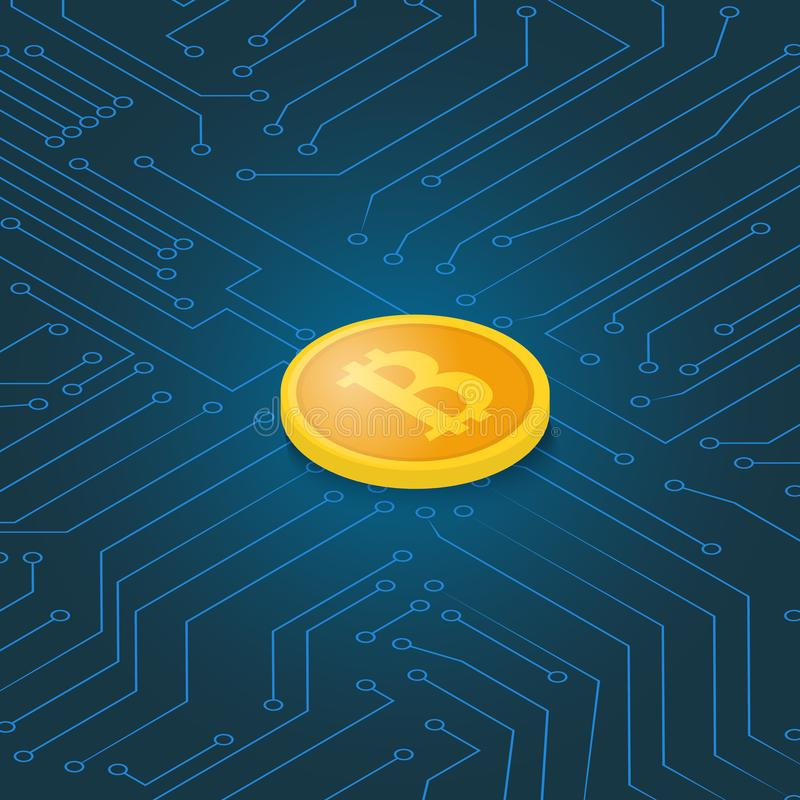 Coin bitcoin on a computer chip. Earnings cryptocurrency. Vector illustration vector illustration