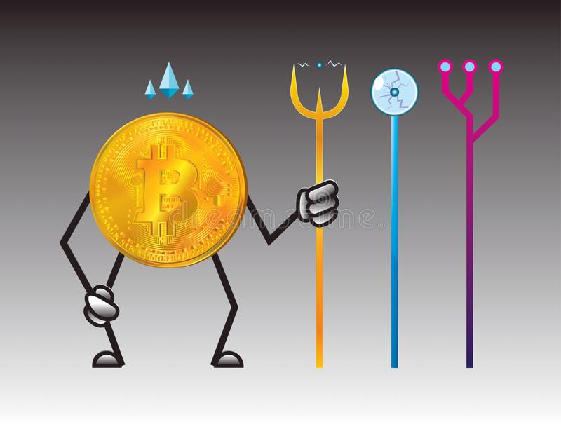 Coin. bitcoin cryptocurrency. Bitcoin character design. for illustration of digital business. super bitcoin character stock illustration