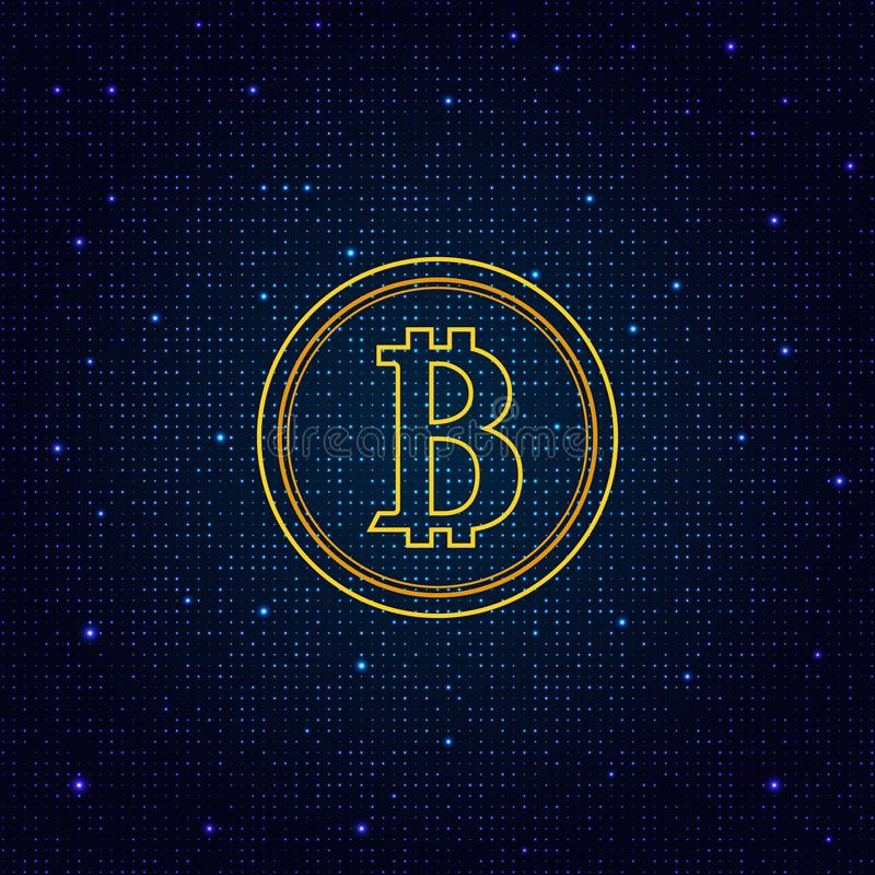 Coin bitcoin on a digital abstract background. royalty free illustration