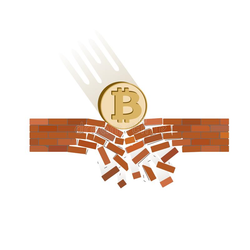 Coin of bitcoin fall down on a white background. Crypto currency breaks through the brick wall of support , vector image design concept royalty free illustration