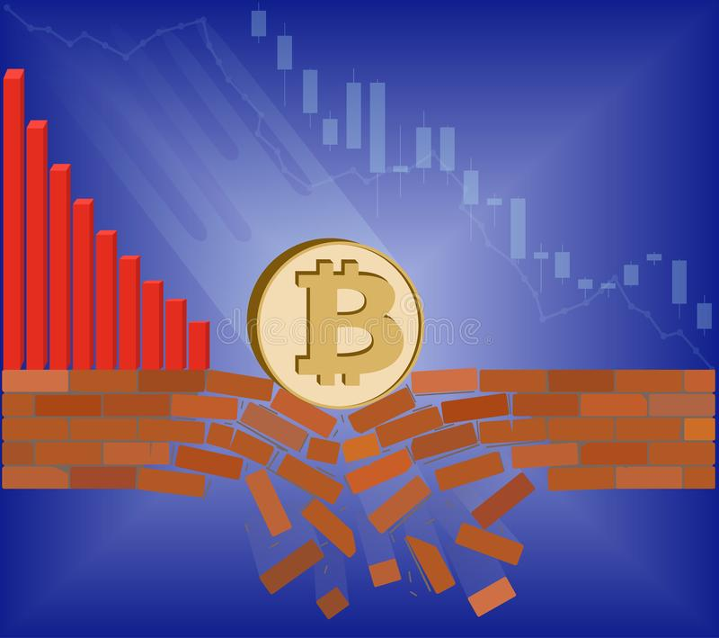 Coin of bitcoin falls down with drop chart vector illustration