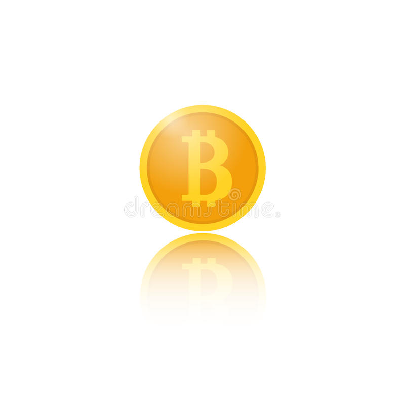 Coin bitcoin with reflection on white background. royalty free illustration