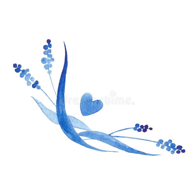 Coin bleu de style d'aquarelle d'indigo concevez l'élément pour épouser l'invitation, décoration de carte illustration stock