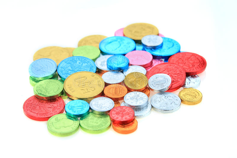 Coin candy. On white background royalty free stock photo
