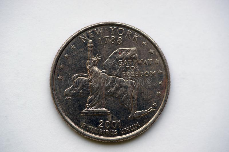 Coin 25 cents - `Washington Quarter` New York royalty free stock photos