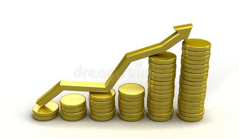 Coin chart. Golden chart with arrow made out of coins vector illustration