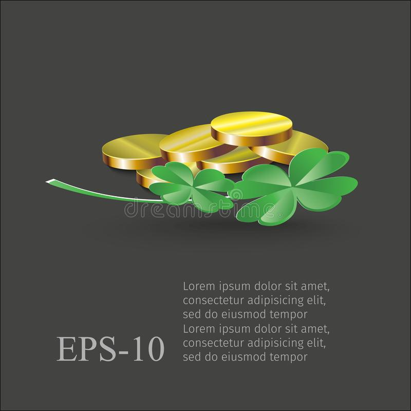 Coin and clovers isolated on a black background. Illustration for St. Patrick`s day greeting cards, and web projects. stock illustration
