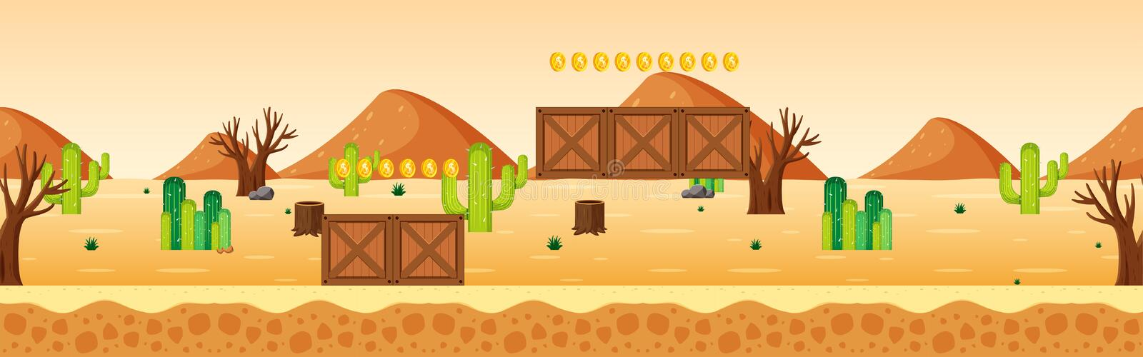 Coin Collecting Game Desert Scene royalty free illustration