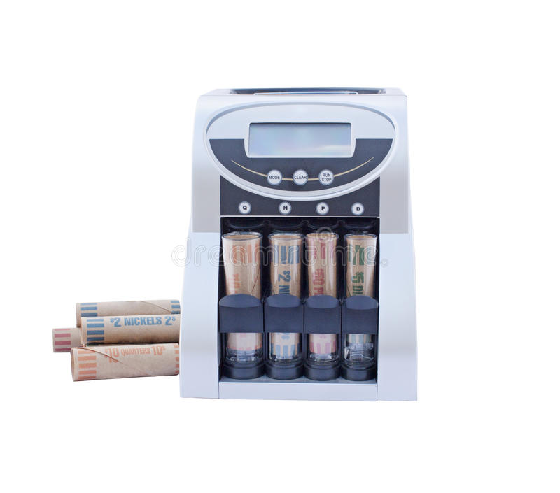 Coin counting rolling machine royalty free stock images