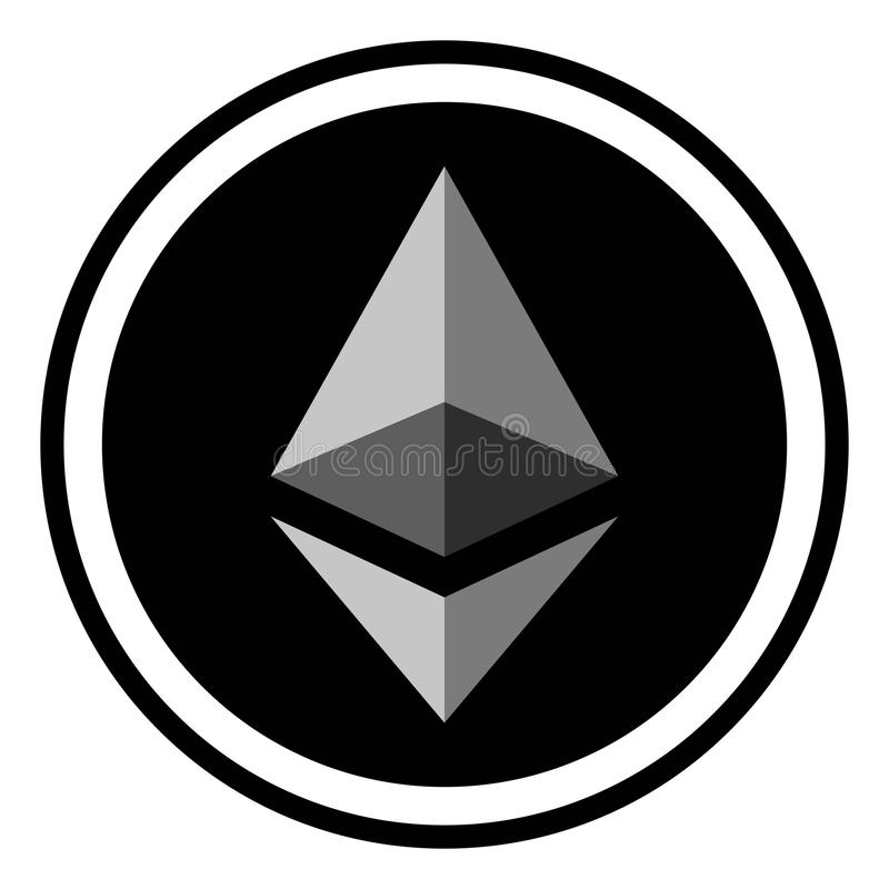 Coin crypto currency Ethereum, icon digital ether crypto currency Ethereum royalty free illustration