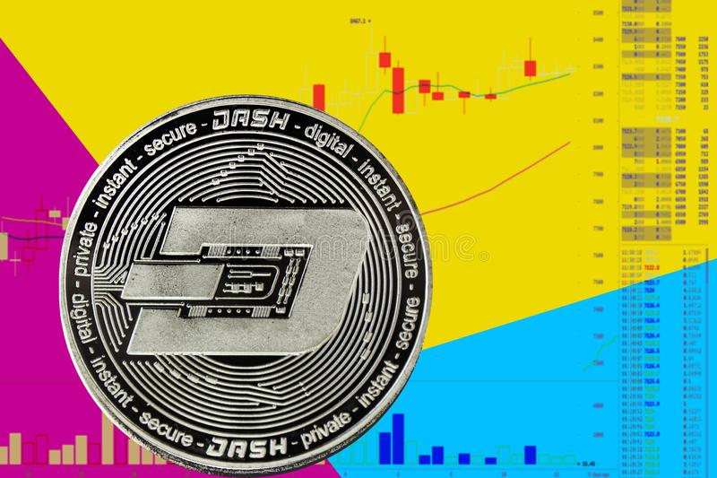 Coin cryptocurrency Dash on chart and yellow blue neon background. Coin cryptocurrency Dash on chart and yellow neon background royalty free illustration