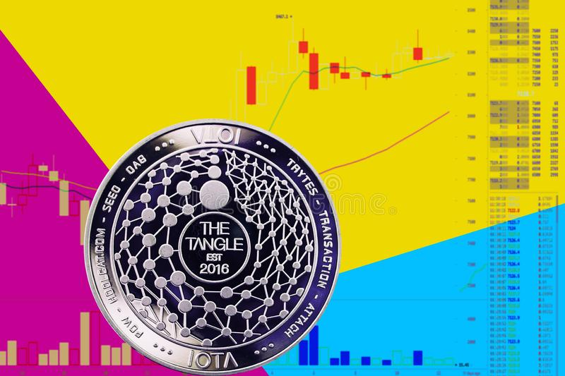 Coin cryptocurrency Miota on chart and yellow blue neon background. stock images