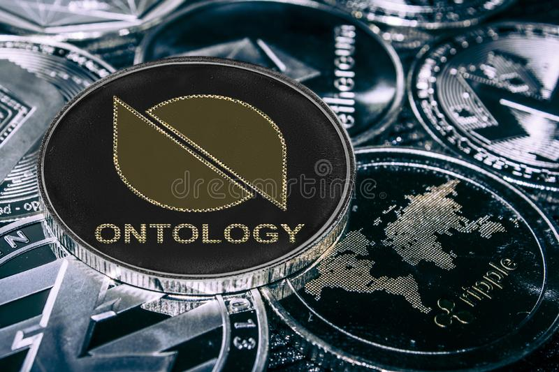 Coin cryptocurrency Ontlogy against the main alitcoins. ONT coin. royalty free illustration