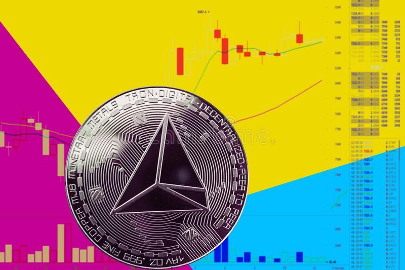 Coin cryptocurrency trx on chart and yellow blue neon background. Coin cryptocurrency Tron on chart and yellow neon background vector illustration