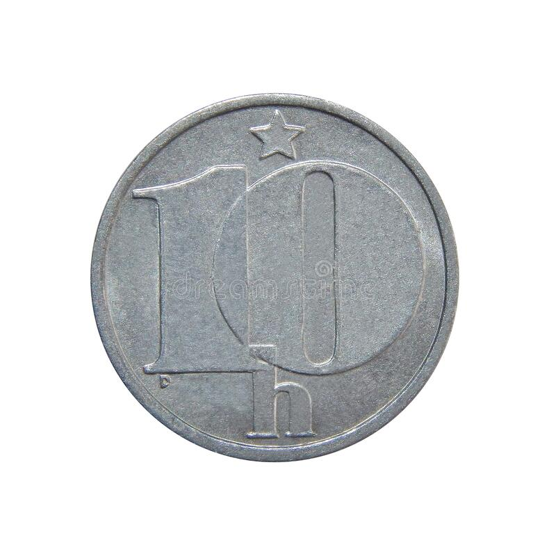 Coin Czechoslovakia 10 haleru 1985.  stock photo