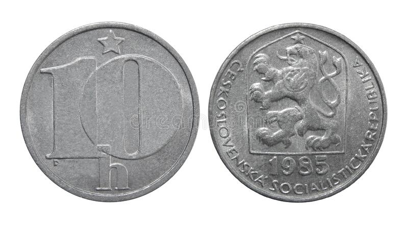 Coin Czechoslovakia 10 haleru 1985.  stock photography