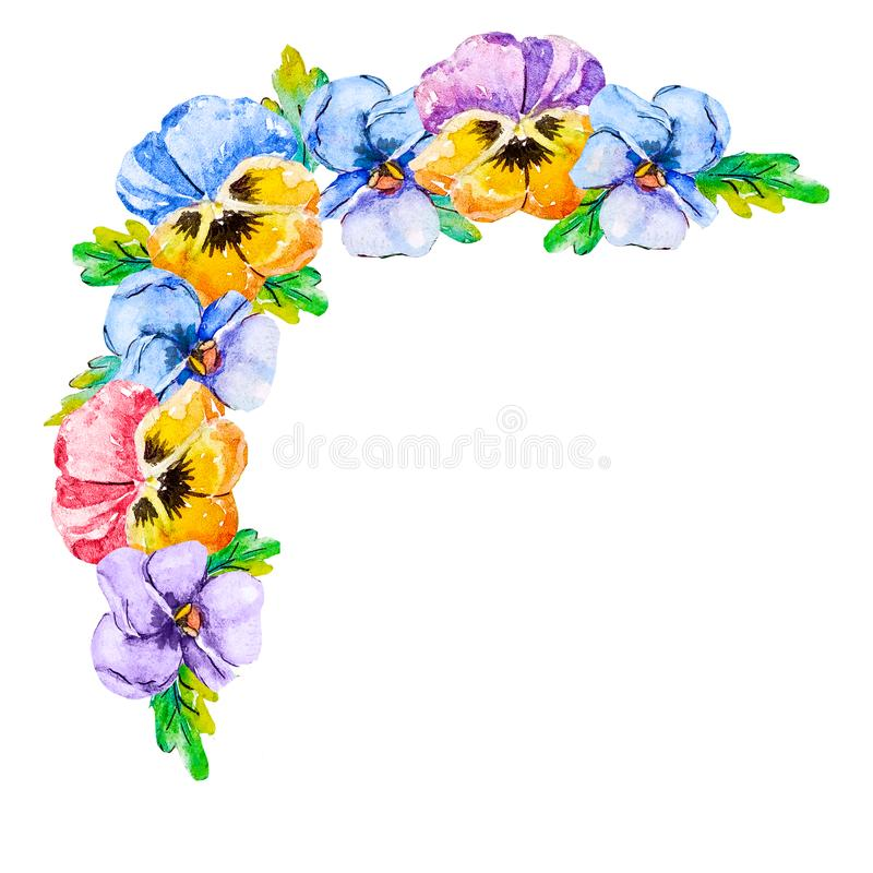 Coin d'aquarelle avec des pensées de fleurs de ressort Cadre de fleur avec les coins floraux et centre vide pour le texte fait su illustration stock