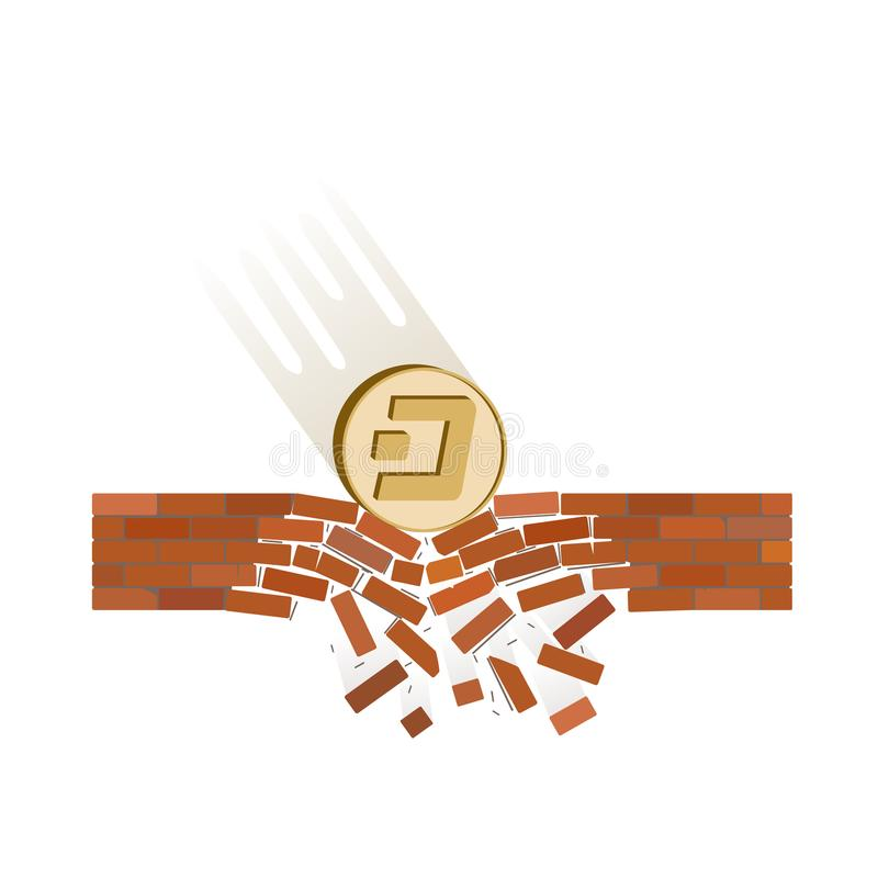 Coin of dash fall down on a white background. Crypto currency breaks through the brick wall of support , vector image design concept vector illustration