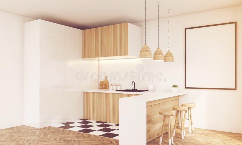 Coin de comptoir de cuisine en bois léger, modifié la tonalité illustration stock