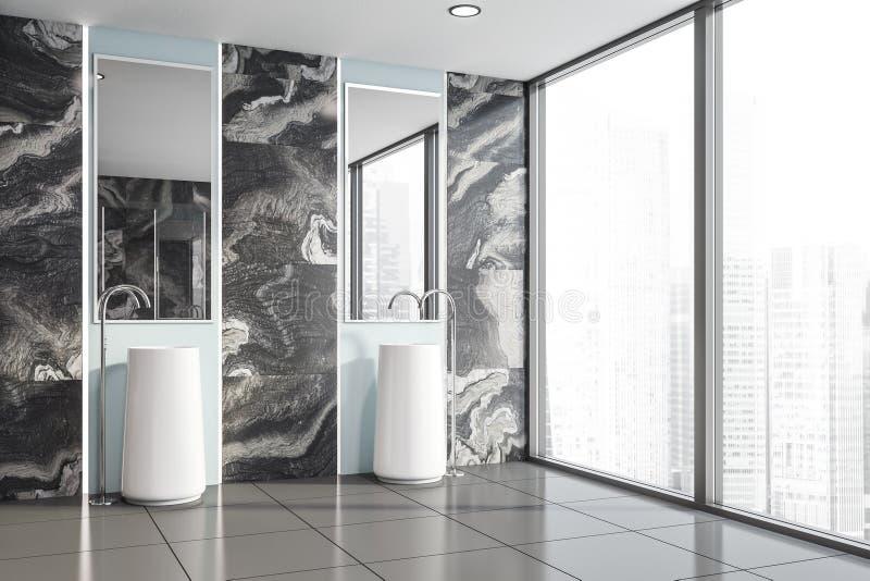 Coin de marbre noir de salle de bains, double évier illustration de vecteur