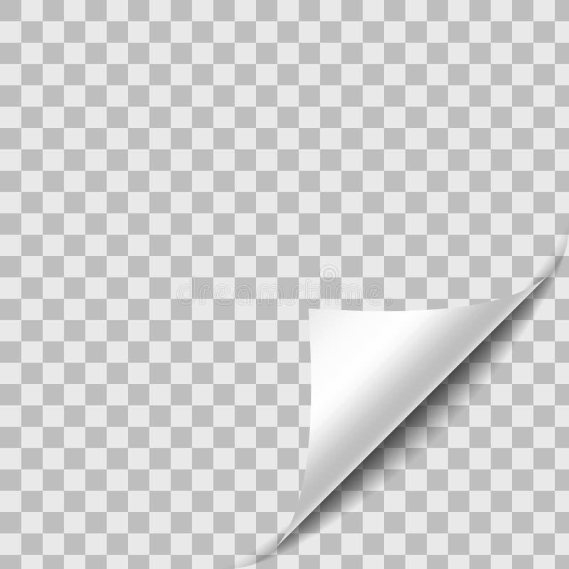 Coin de papier courbé de feuille avec l'ombre illustration stock