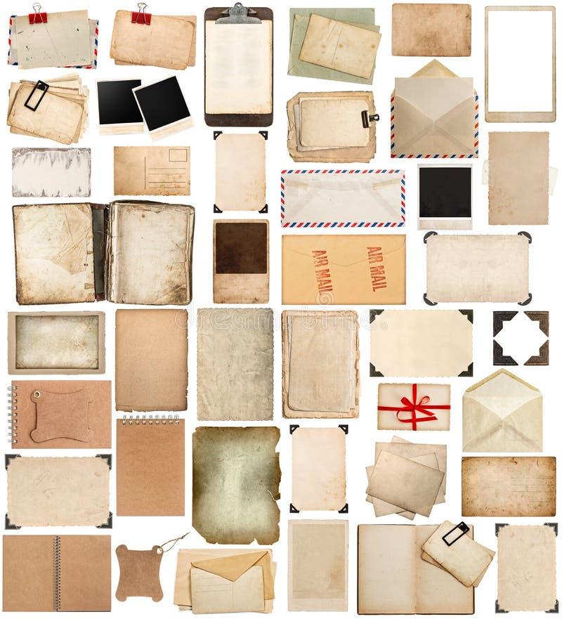Coin de papier utilisé de feuilles, de cadres, de livres, de presse-papiers et de photo photos stock