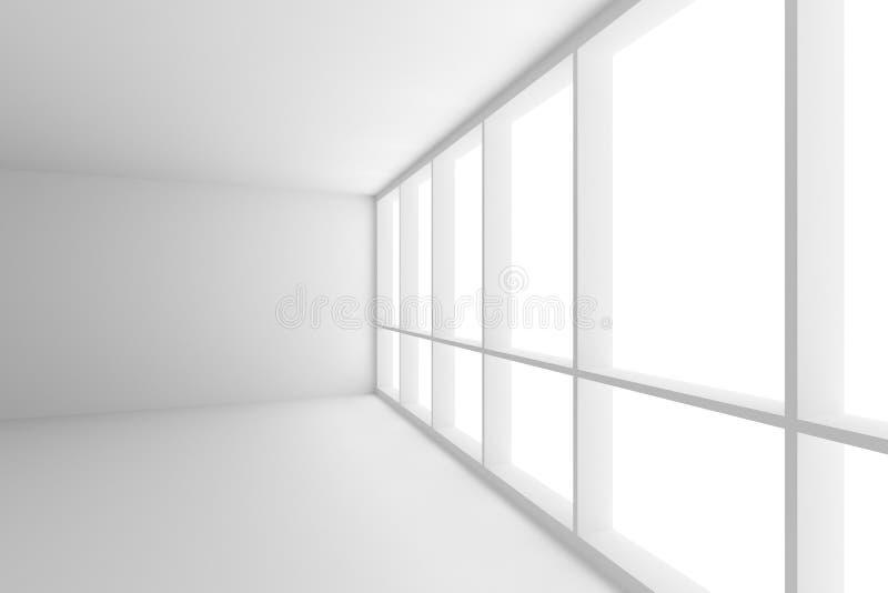 Coin de pièce blanche vide de local commercial avec la grande fenêtre illustration de vecteur