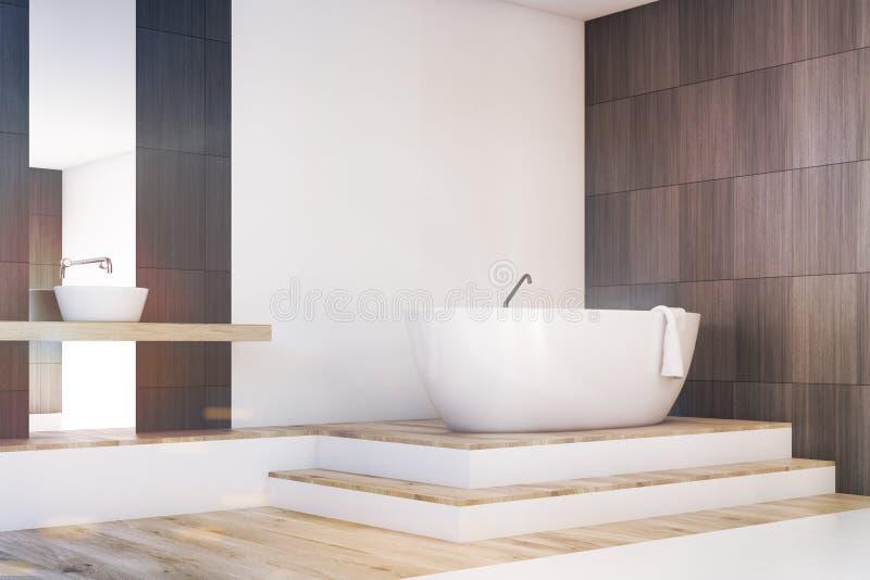 Coin de salle de bains avec un miroir, modifié la tonalité illustration stock