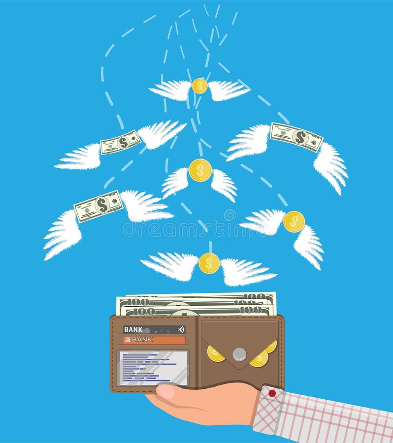 Coin and dollar bill flying in hand with wallet stock illustration