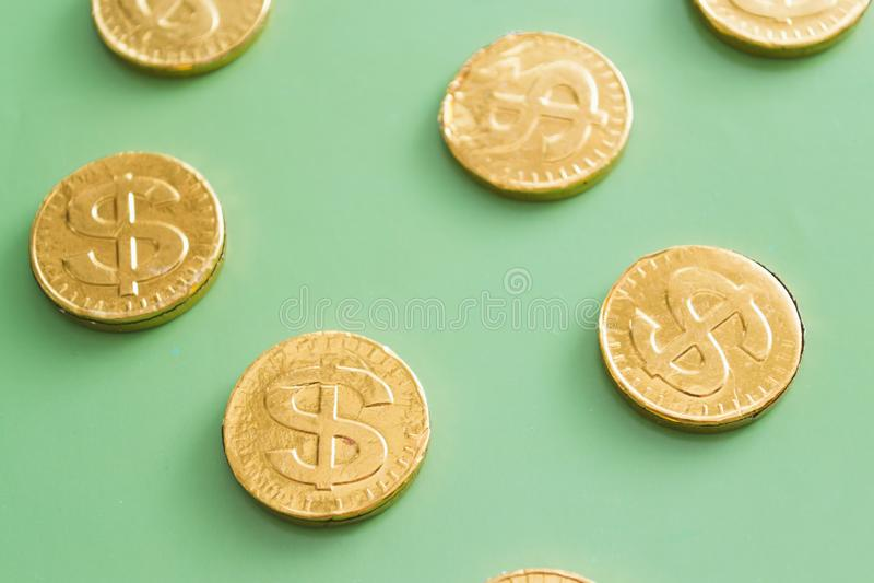 Coin dollar on a green background. Financial concept.  royalty free stock photos