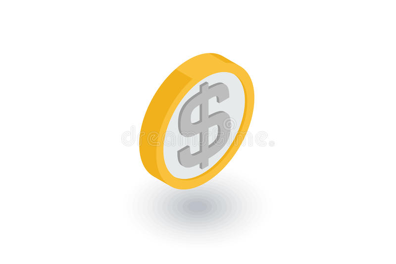 Coin dollar, money, finance, currency isometric flat icon. 3d vector royalty free illustration