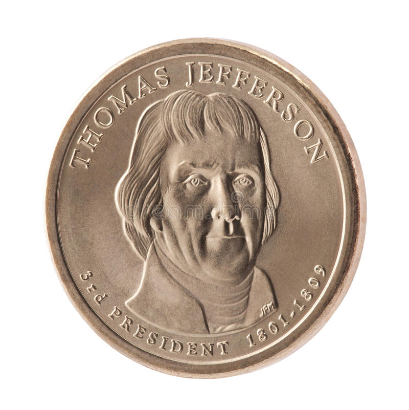 coin dollaren jefferson presidents- thomas arkivfoto