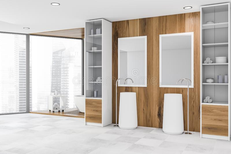 Coin en bois de salle de bains avec deux éviers et baquets illustration libre de droits