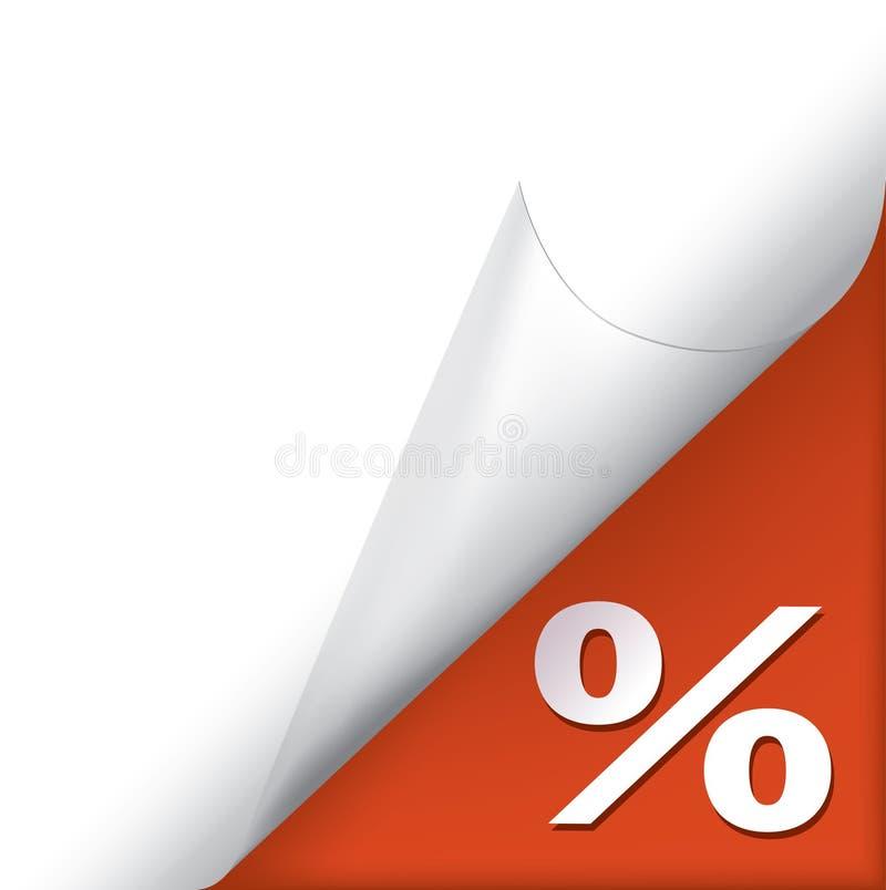 Coin enroulé par page avec le signe de pourcentage illustration stock