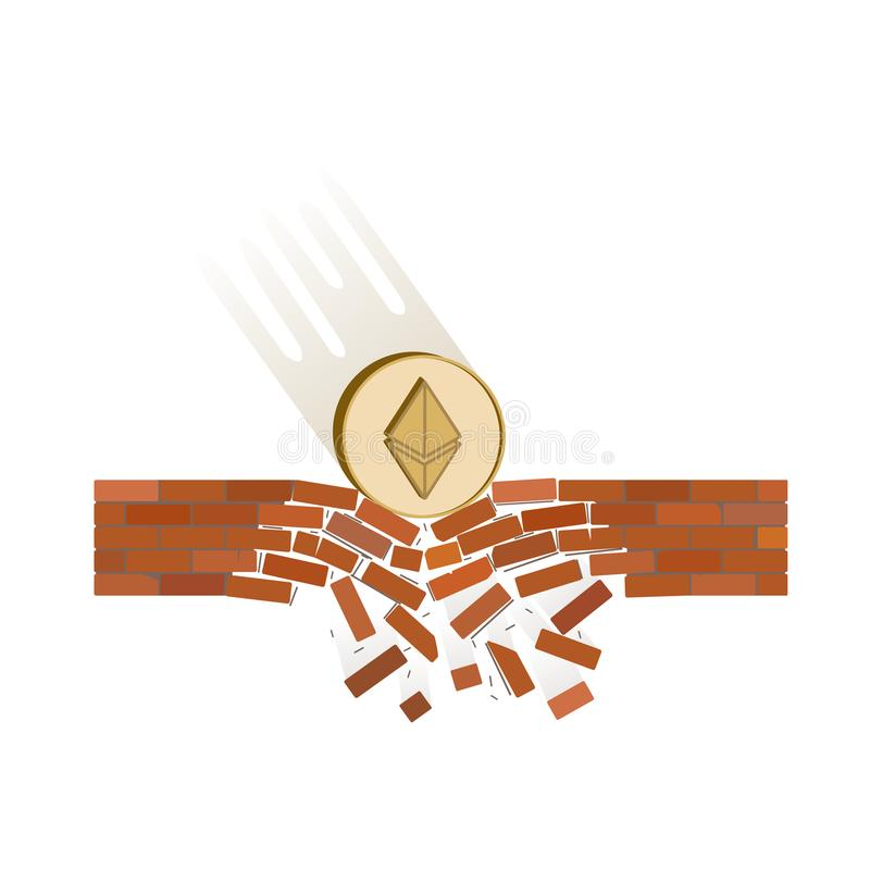 Coin of ethereum fall down on a white background. Crypto currency breaks through the brick wall of support , vector image design concept royalty free illustration