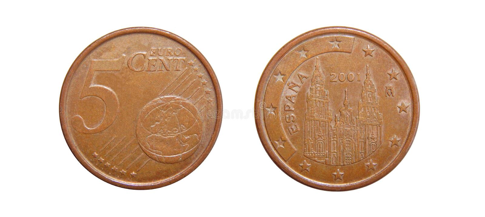 Coin 5 euro cents Spain stock photography