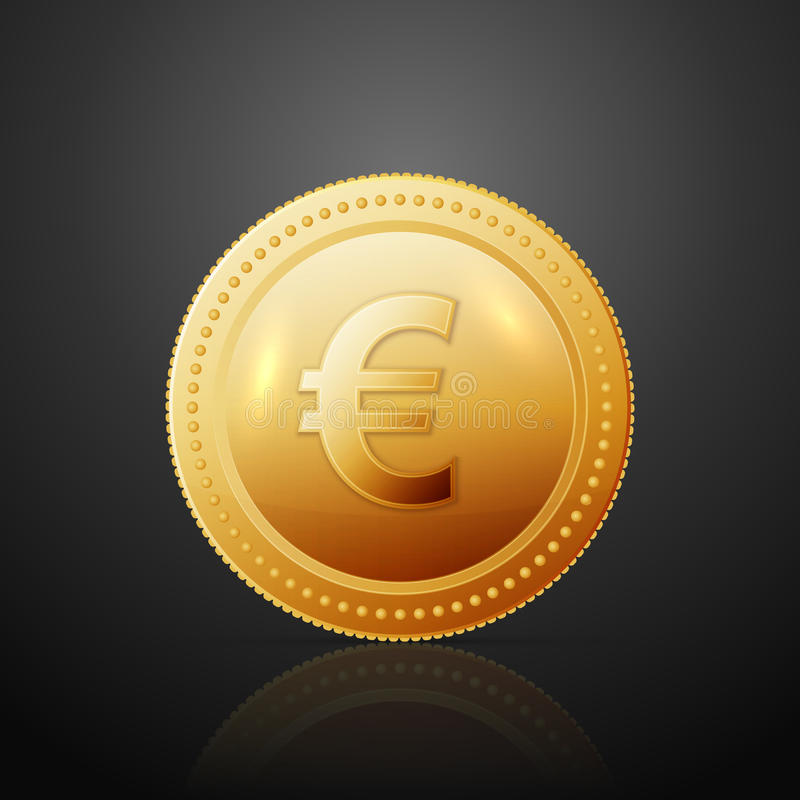 Coin euro. Gold coin with dollar sign. Vector illustration on dark background vector illustration