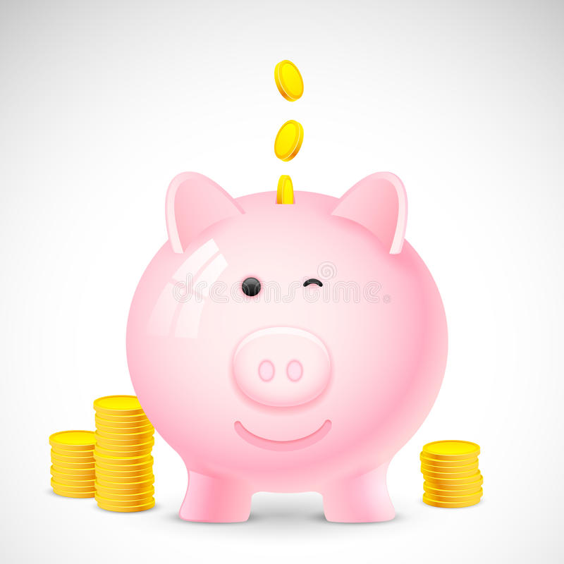 Coin falling into Piggy Bank stock illustration