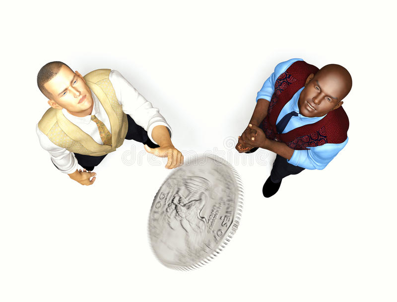 Coin Flip. Two men awaiting the outcome of a coin toss vector illustration