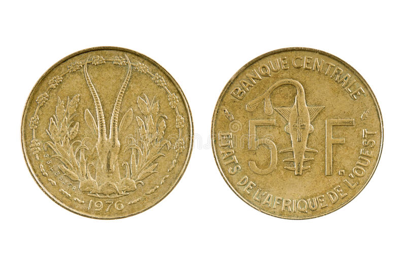 Coin French West Africa - Togo. On white background stock image