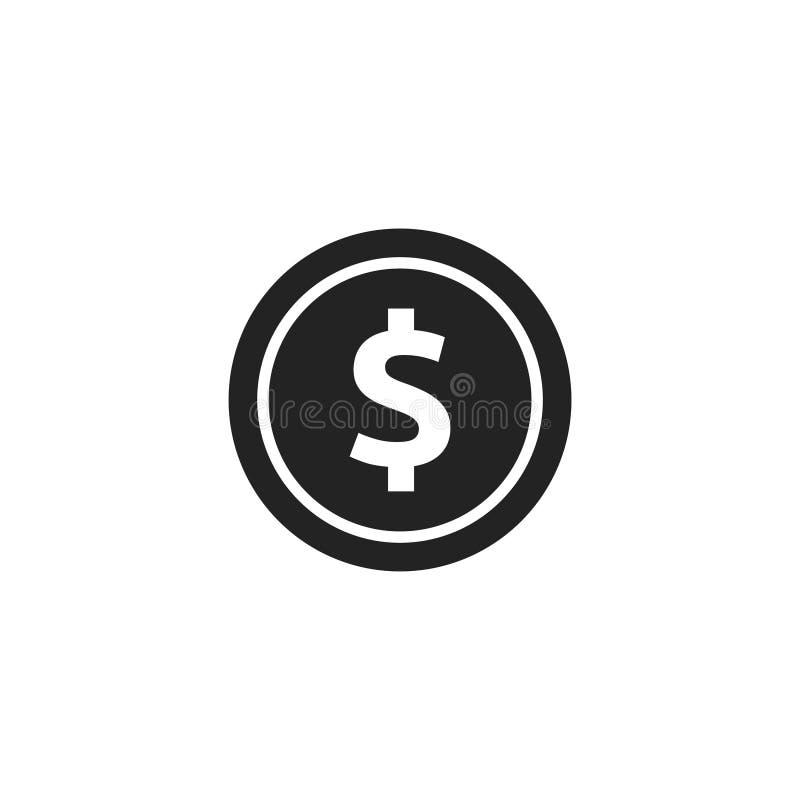 Coin Glyph Vector Icon, Symbol or Logo. vector illustration