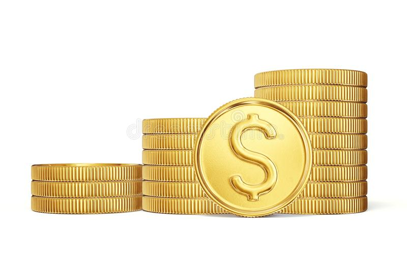Coin. Gold coin sign isolated on a white backgrond. 3d illustration stock illustration