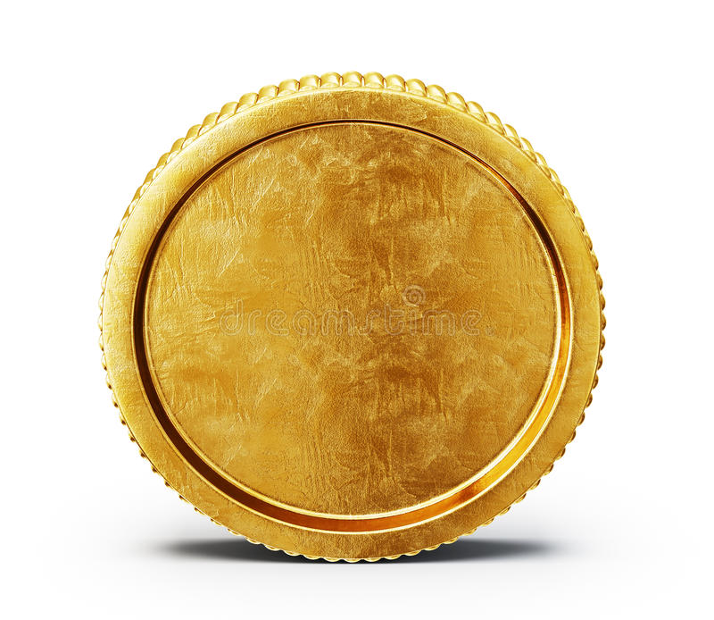 Coin. Golden coin on a white backgroound vector illustration