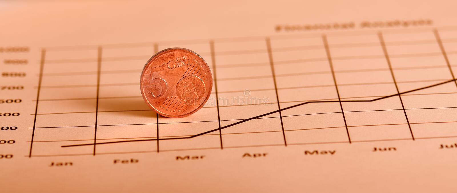 Download Coin On Graph stock photo. Image of investment, diagram - 16215224
