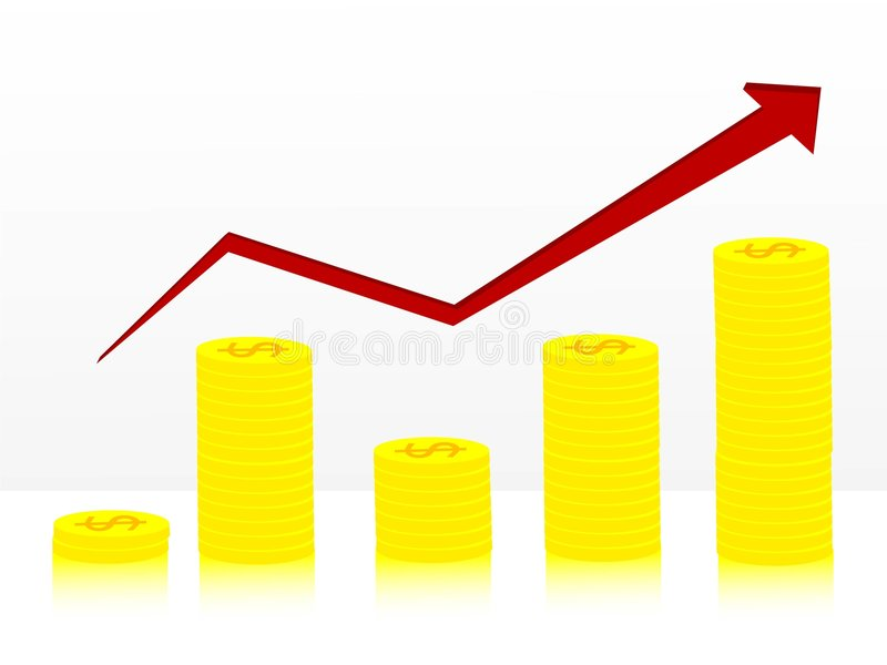 Coin graph rising. On isolated background vector illustration